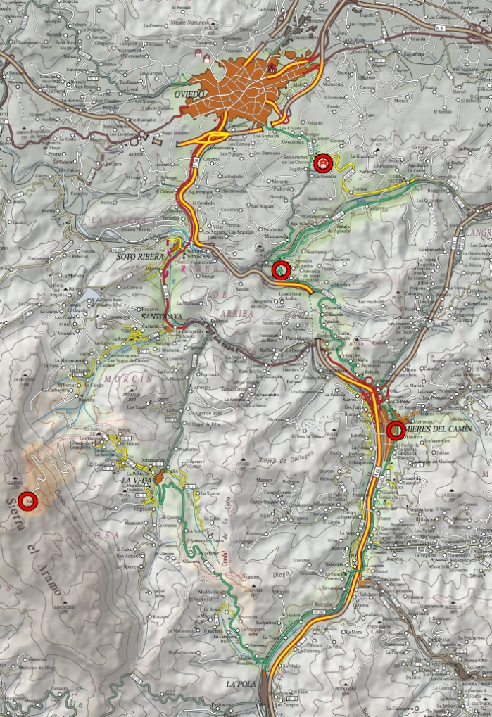Mapa Ruta Oviedo - Angliru - Oviedo