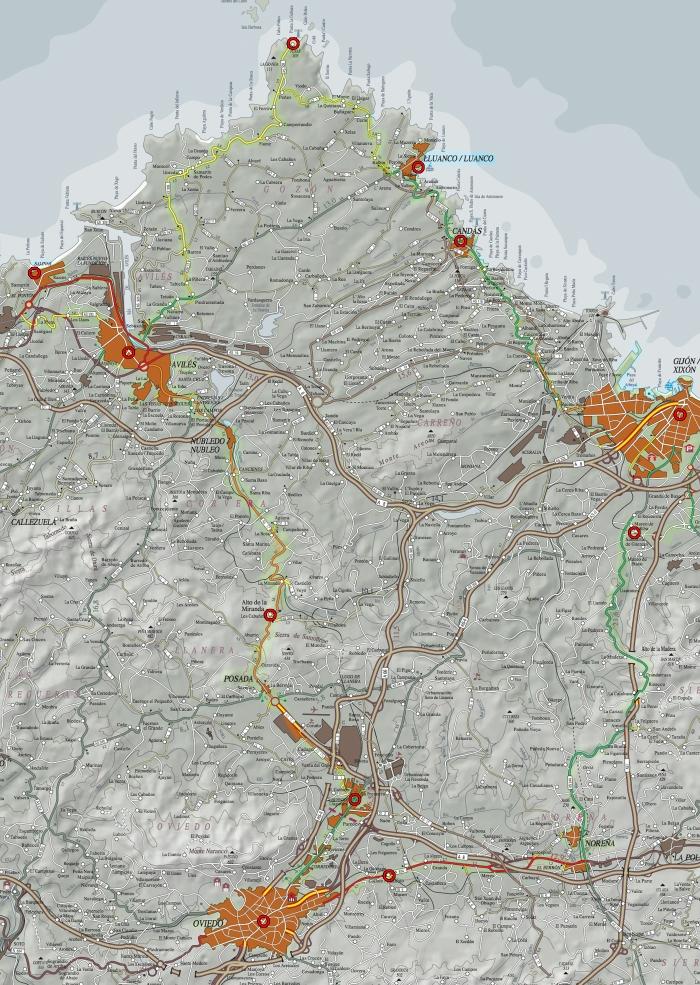 Mapa Ruta de la rasa costera central asturiana