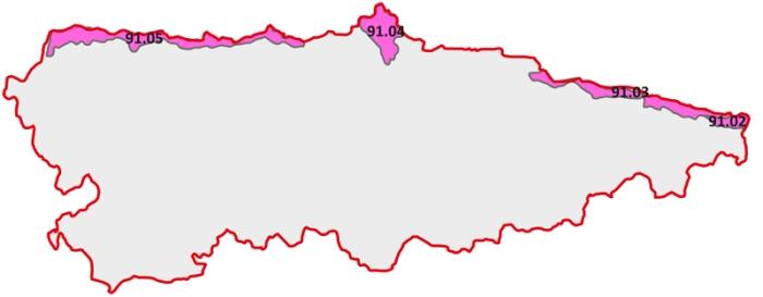Rasa costera cantábrica - mapa Asturias